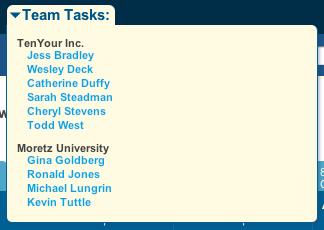 Team Tasks Drop Down